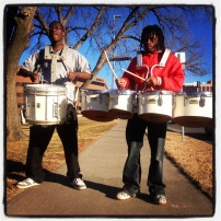 My run view 12/28/13 - meet Carlos (left) and Jay...banging drums on the Plaza - Kansas City, Mo.